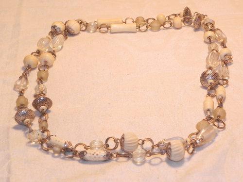 Edwardian Glass & Ivory Bone Necklace