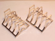 Pair Art Deco Sterling Silver Toast Racks D&F