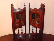 Pair Victorian Mahogany Corner Cabinet Cupboards