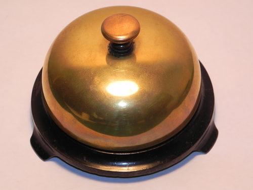 Rare Victorian Russell & Erwin Brass Desk Bell