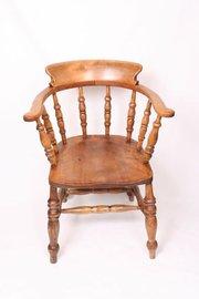 19th Century Ash Bow Captains Armchair