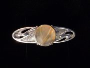 Amy Sandheim Arts and Crafts Silver Agate Brooch