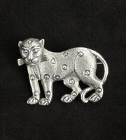 Anglo Indian Silver Leopard Brooch Pin c1900
