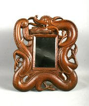 Antique Chinese Burmese Hardwood Dragon Table Mirror