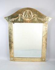 Art Nouveau Brass Arch Top Mirror
