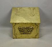 Art Nouveau Brass Coal Box Bin Circa 1910