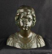 Art Nouveau Bronze Bust signed F Gual circa 1900