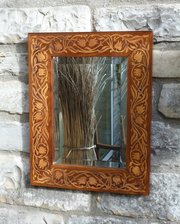 Art Nouveau Inlaid Rosewood Wall Mirror