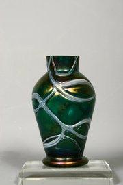 Art Nouveau Pallme-Konig Veined Green Vase
