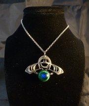 Art Nouveau Pendant with Peacock's Eye Cabochon