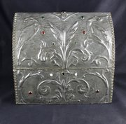 Art Nouveau Pewter Cabochon Casket Jewel Box c1920