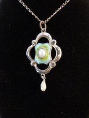 Art Nouveau Silver Enamel and Pearl Pendant c 1910