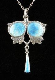 Art Nouveau Silver & Enamel Pendant B'ham 1908