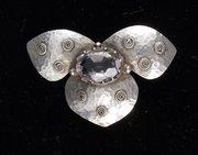 Art Nouveau Silver & Morganite Floral Brooch c1920