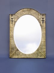 Arts & Crafts Brass Arched Wall Mirror circa 1910