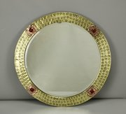 Arts & Crafts Brass, Copper & Cabochon Mirror 1910
