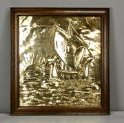 Arts & Crafts Brass Galleon Plaque circa 1910
