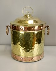 Arts & Crafts Brass and Copper Coal Log Bin c1900