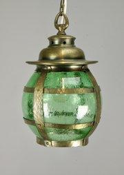 Arts & Crafts Brass and Green Glass Lantern c1910