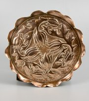 Arts & Crafts Copper Dish with Tulips c1900