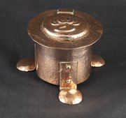 J Poole Hayle Arts & Crafts Copper Inkwell c 1910