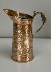 Arts & Crafts Copper Jug Game Bird c1900