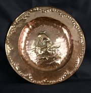 Arts & Crafts Copper Viking Ship Plaque circa 1910