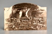 Arts & Crafts Copper Viking Ship Panel c1900