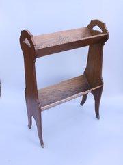 Arts & Crafts Inlaid Oak Book Trough Stand c1910