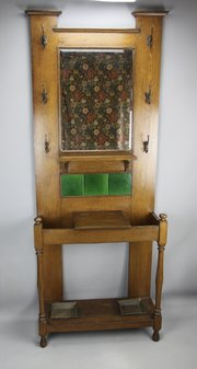 Arts & Crafts Oak Hall Stand c1900