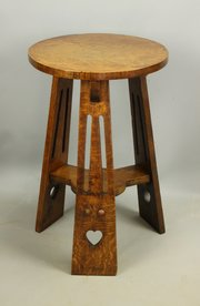 Arts & Crafts Oak Occasional Table Hearts c1910