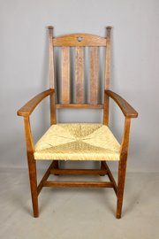 Arts & Crafts Oak Rush Seat Chair, c1900