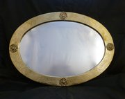 Arts & Crafts Oval Brass Mirror with Applied Roses