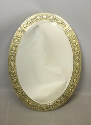 Arts & Crafts Oval Brass Mirror c1910