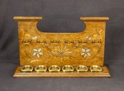 Arts & Crafts Pewter Inlaid Oak Pipe Rack c1910