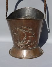 Arts & Crafts Pool of Hayle Copper Coal Scuttle