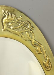 Arts & Crafts Scottish Brass Mirror Dragons c1910