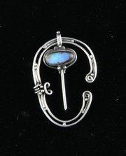 Arts & Crafts Silver Opal Cloak Pin M Thew c. 1910