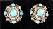 Arts & Crafts Silver Turquoise Pearl Earrings 1910