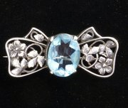 Arts & Crafts Silver & Blue Bow Brooch Pin c. 1920
