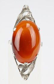 Arts & Crafts Silver & Spessartine Garnet Ring