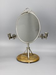 Arts & Crafts Silvered Brass Shaving Mirror