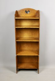Arts & Crafts Slim Narrow Oak Bookcase c1910