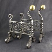 Arts & Crafts Wrought Iron & Brass Fire Dogs c1890