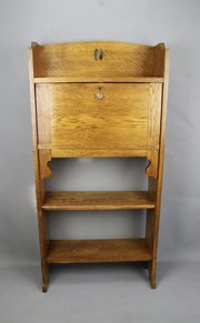 Arts and Crafts Golden Oak Bureau Bookcase c1910