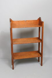Arts and Crafts Oak Bookcase Pierced Heart Motif 1