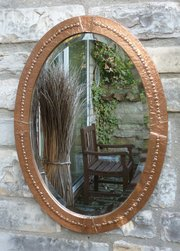 Arts and Crafts Oval Copper Mirror circa 1910-20