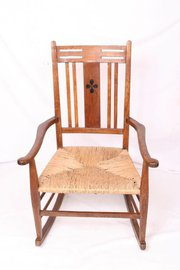 Arts and Crafts Rush Seat Rocking Chair