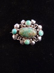 Arts and Crafts Silver Moss Agate Turquoise Brooch c1900