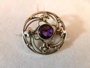 Arts & Crafts Silver & Amethyst Brooch circa 1900